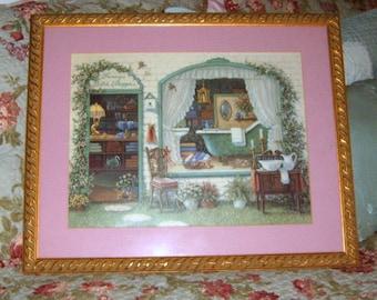 SALE...Vintage, Bath Picture, Ornate Gold Frame, Bath Decor, Mauve, Bath Shoppe