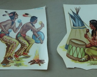 A835)  Vintage Meyercord American Indian Decals