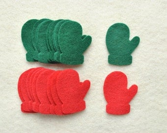 20 Piece Die Cut  Felt Mittens, Red/Green