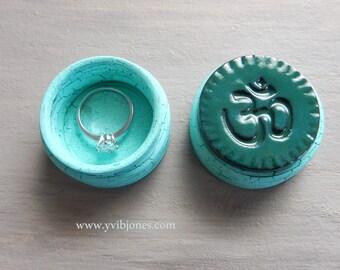 Handmade Ring Box Unique Pill Box Anniversary Birthday Gift Small Hand Crafted Keepsake Spiritual Jewelry Box Rustic Meditation Om Design