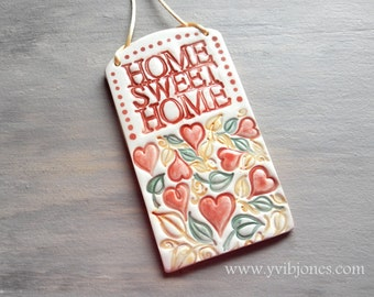 Christmas in July SALE Home Sweet Home Fall Wall Hanging Plaque Ceramic Wall Art Fall Autumn Home decor Fancy Eco Friendly Wedding Gift