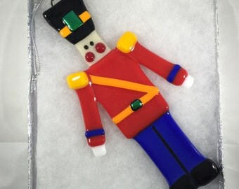 Fused Glass Christmas Ornament - Toy Soldier