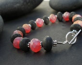 Natural Black Lava Rondelle Beads - Matte Red Faceted LiuLi Crystal Rondelle Beads - 925 Sterling Silver Toggle Clasp Bracelet