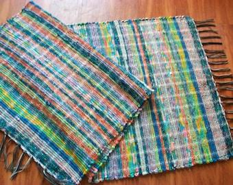 blue multicolored woven long  rag rug runner  south dakota made
