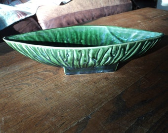 Vintage Green Glazed Ceramic Pottery Planter stamped Unique Arts, 302, with textured bark like finish with great lines and design