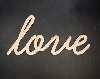 "48"" Wide Custom Wedding Backdrop Cutout Sign - Love Sign Bedroom Wall Decor - Custom Word Cutout Sign - Personalized Word Art - Cursive Font"