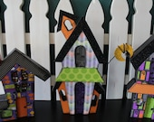 Large HAUNTED HOUSE Trio set in bright color scheme, Halloween Decoration