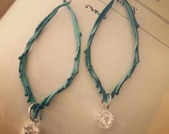 Patina Branch Earrings long verdigris sparkle earrings rustic nature