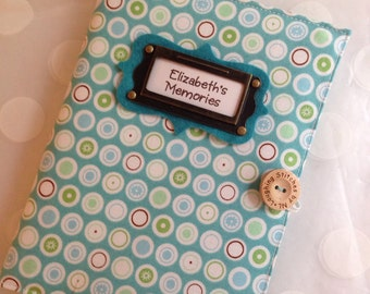 Photo Album Personalized Brag Book holds 48 Pictures - Aqua Dots Fabric