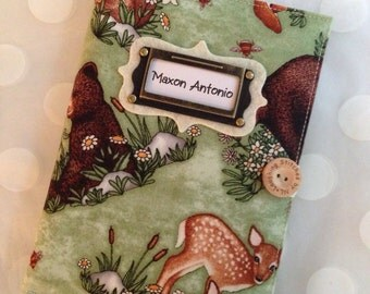Photo Album Personalized Brag Book - Woodland Animals Fabric-holds 48 Pictures