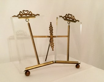 French vintage double frame, Frames with know, bronze and brass 19th