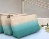 Set of 5 - Ombre Clutch Purses, Teal Bridesmaid Gifts, Bohemian Wedding, Wanderlust