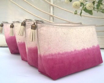 Set of 8 Bridesmaid Clutches with Tassels, Dip Dyed, Fuscia Pink Bridesmaids Clutch Purses