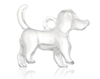 8 Dog Charms - Silver - 16x15mm -  Ships IMMEDIATELY from California - SC1172