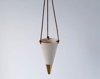 Hanging Porcelain Vase, Bouquet Holder or Planter, Dipped in Gold, Copper or Silver Leaf