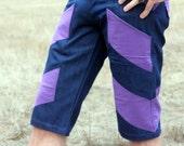 Men's Sleek Sexy Blue & Purple Pinstripe Stretch Denim Skinny Shorts