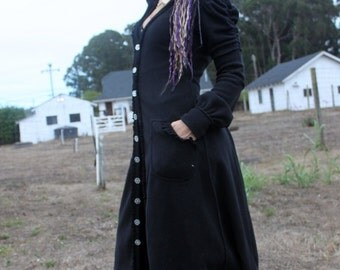 victorian style WARM black Fleece, Elegant Long Festival Key Coat *NOW with pockets and removeable hood!