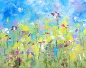 Reserved for Dawn - Abstract Landscape 'Last of the Summer Flowers #2' - acrylic painting on canvas - size 30cm x 80cm