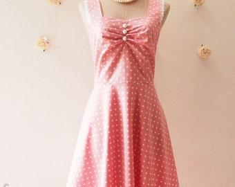 SALE - Size S - Pink Dress Pink Tea Dress Polka Dot Dress Pink Retro Bridesmaid Dress Summer Dress Rockabilly Garden of Goddess