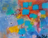 "Naive Art Small Abstract Painting, Colorful, Small, Turquoise Blue, Original ""In the Beginning: 8x10"
