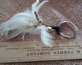 Peacock Feather Keychain, White Feathers with Black Speckles, Bag Charm, Car Charm, Purse Charm, Luggage Flag Charm,Great Gift Idea,