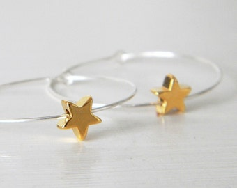 Sterling Silver Hoop Gold Star Earrings