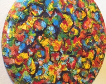 Encaustic Vibrant Abstract  Painting -  pigmented molten Wax  20 round  canvas -  ready to hang -  FREE SHIPPING - ebsq Artist  Ricky Martin