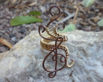 Copper Gold Wire Wrapped Ring Treble Clef Music Note Size 8 9 10 1/2 Heart Love Handmade Healing Jewelry Goth Steam Punk