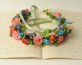 Floral Crown, Flower Halo, Wedding Hair Accessory, Head Wreath, Rustic Hair Wreath, Flower Headband, Rainbow Crown, Hair Garland,
