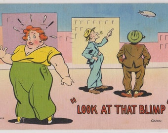 Vintage Comic Humor Postcard Luther Jakie Irby Artist Signed Look at That Blimp Sacrimento California Postmark Linen