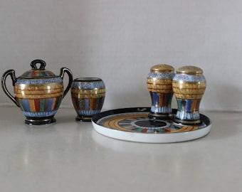 Hard to Find Nippon Miniature Creamer Sugar Bowl Salt & Pepper w Tray Moriagi detailing