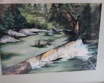 Artist Signed & Framed Original Water Color Landscape Painting Rene Marie