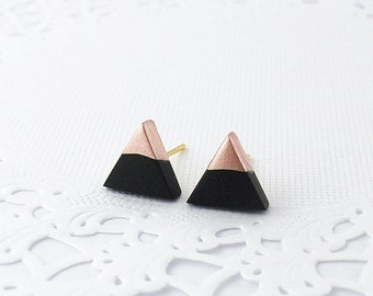 Black - Rose Gold Dipped Triangle Stud Earrings