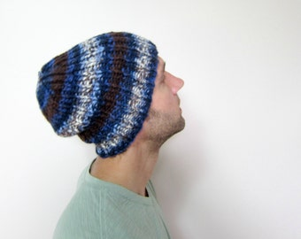 Mens Knit Beanie Blue Knitted Slouchy Hat Guys Oversized Hats Etsy Beanies for Men Accessories Handmade Knits Striped Fashion Stylish Knits
