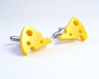Yellow Acrylic Cheese Cufflinks