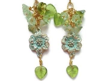 Mint Green  Earrings Flower Floral Earrings Lacy Filigree Earrings Victorian Vintage style by Lyrisgems