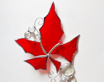 Red Maple Leaf. Stained Glass Suncatcher.