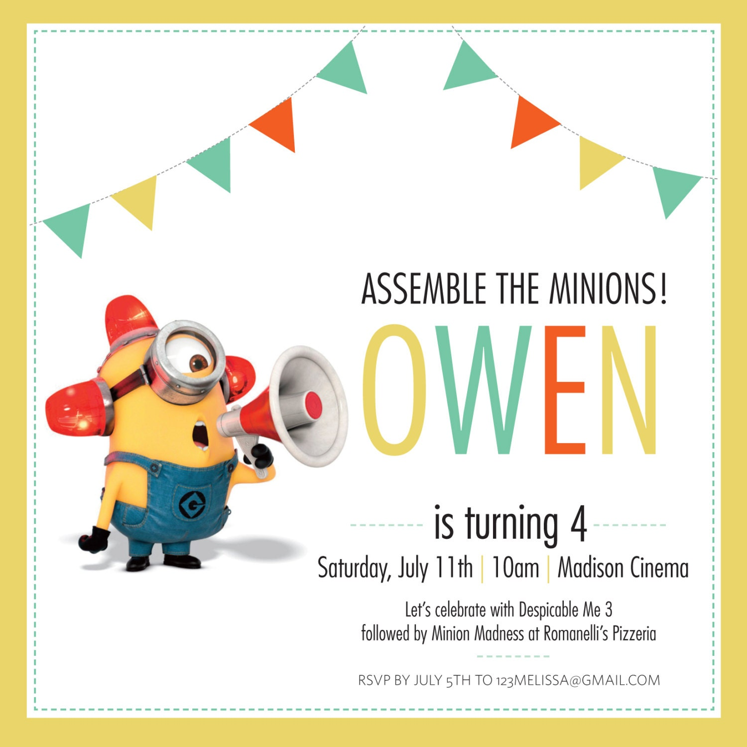 Minion Birthday Invitation DIGITAL