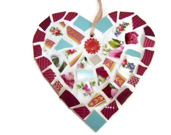 Mosaic Wall Art - Pink and Blue Mosaic Heart - Broken China Mosaic Wall Hanging
