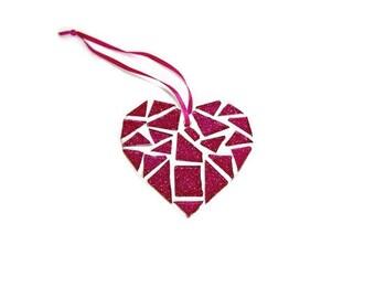 Pink Glitter Mosaic Hanging Heart