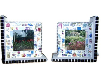 Broken China Mosaic Bookends/Photo Frames