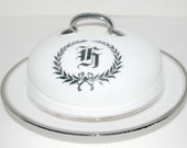 Butter dish with dome  Hutschenreuther Bavarian china white and platinum  wreath with monogram