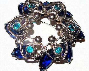 "Blue Rhinestone Wreath Brooch Pin Silver Metal Hearts Tiered 2"" Vintage"