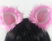 Bubble Gum Cat Ears  Halloween- Costume- Cosplay- Animal Costume- Faux Fur- Furries - Anime- Cat Costume- Pink