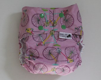 Lavender Bike Ride PUL Lined Water Resistant Diaper Cover Available in Small, Medium, and Large