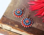 Blue Red Earrings Beadwork Earrings Glass beads Earrings Bead embroidery Earrings Blue Dangle Earrings Colorful Bright Jewelry MADE TO ORDER