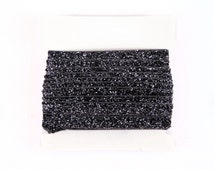 Glitter Elastic, stretch 3/8th inch For Glitter Headbands and Hairties- 5 or 10 yards - Charcoal
