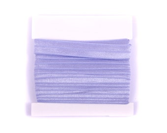 5/8th inch Fold Over Elastic, FOE, Satin Elastic for Headbands - 5 or 10 yards - Periwinkle