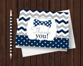 Bow Tie Thank You Boys Baby Shower Cards Navy and Grey Chevron Printable Party Instant Download Paper Stationery Folded Printed Little Man