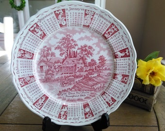 Alferd Meakin Staffordshire Transferware Plate Bless Our Home Throughout 1969